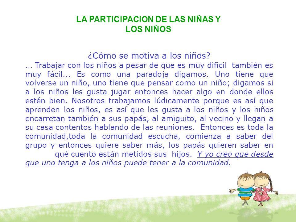 LA PARTICIPACION DE LAS NIÑAS Y