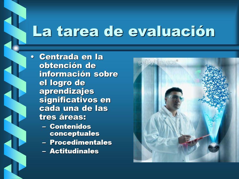 La tarea de evaluación Centrada en la obtención de información sobre el logro de aprendizajes significativos en cada una de las tres áreas: