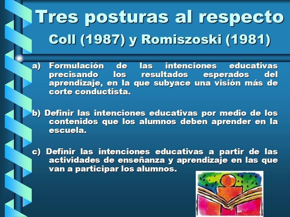 Tres posturas al respecto Coll (1987) y Romiszoski (1981)