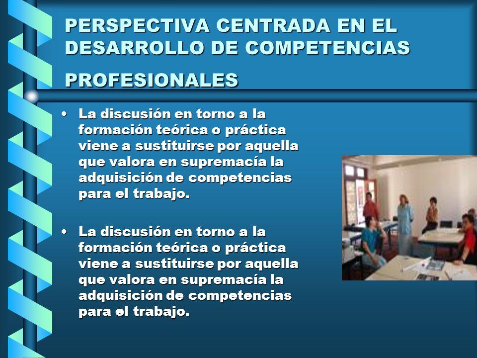 PERSPECTIVA CENTRADA EN EL DESARROLLO DE COMPETENCIAS PROFESIONALES