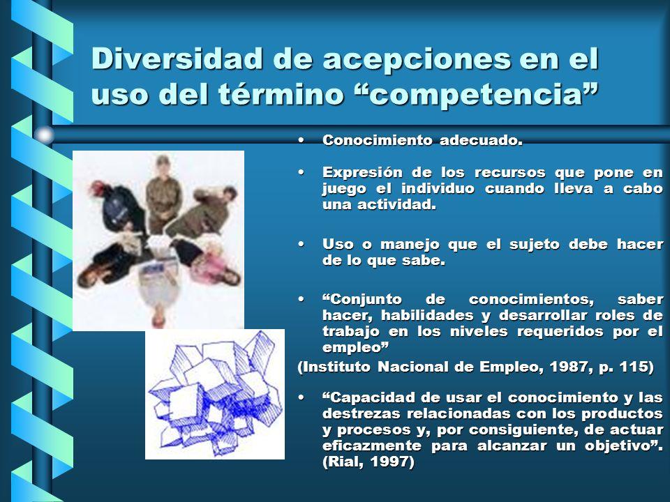 Diversidad de acepciones en el uso del término competencia