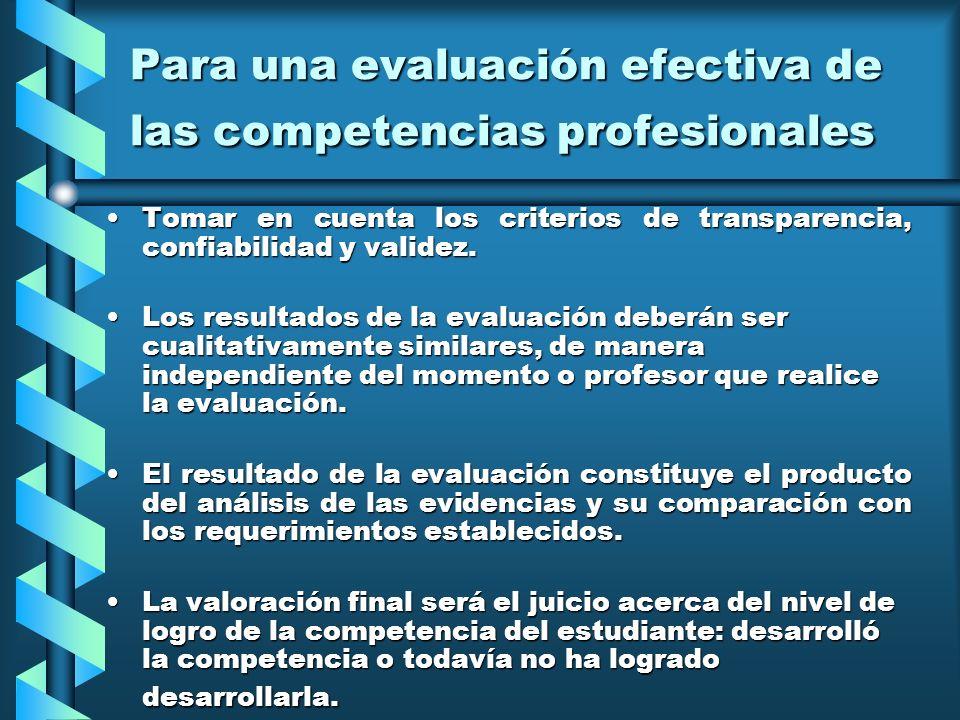 Para una evaluación efectiva de las competencias profesionales