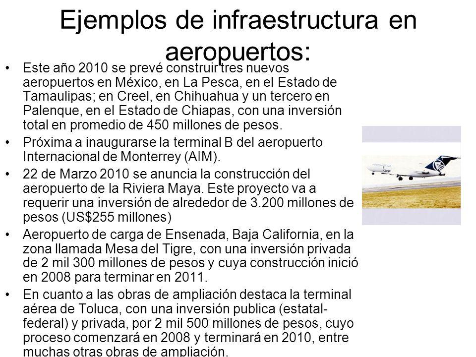 Ejemplos de infraestructura en aeropuertos:
