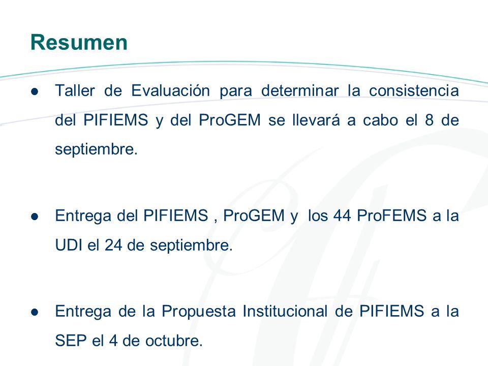 Resumen Taller de Evaluación para determinar la consistencia del PIFIEMS y del ProGEM se llevará a cabo el 8 de septiembre.