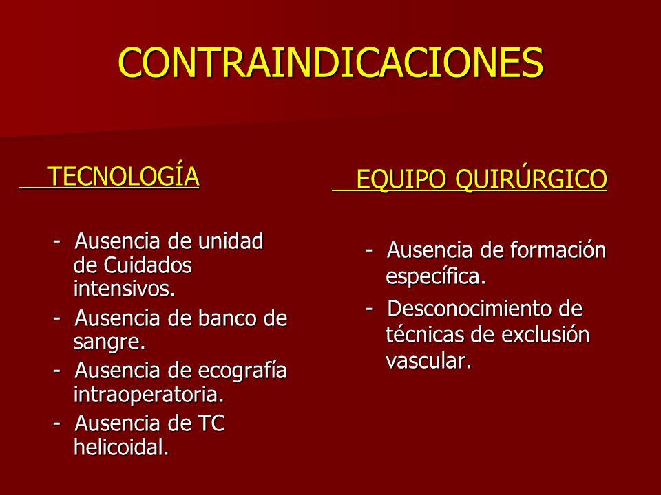 CONTRAINDICACIONES EQUIPO QUIRÚRGICO TECNOLOGÍA