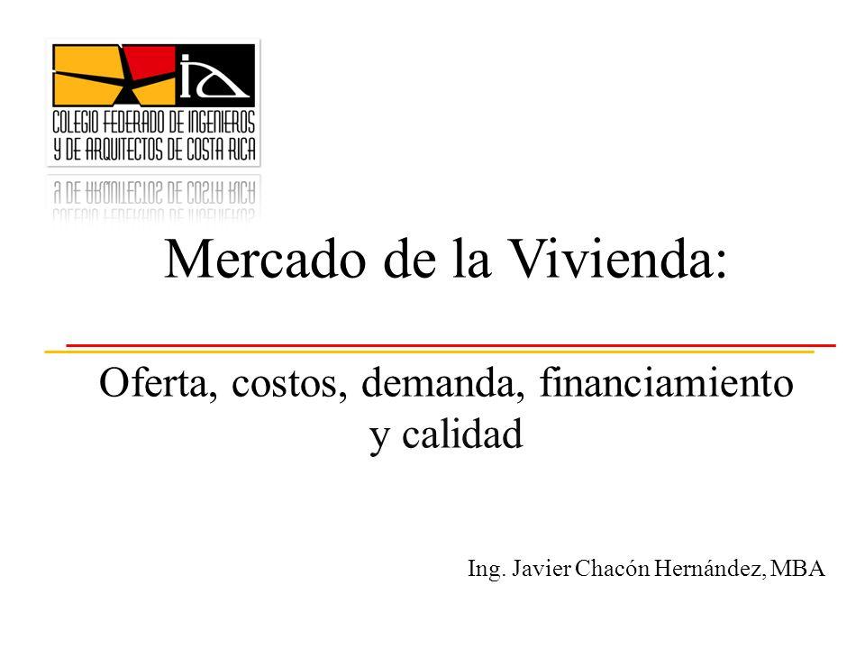 Mercado de la Vivienda: Oferta, costos, demanda, financiamiento y calidad