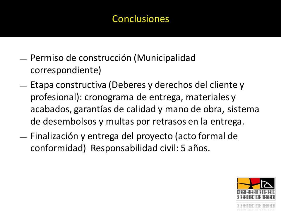 Conclusiones Permiso de construcción (Municipalidad correspondiente)