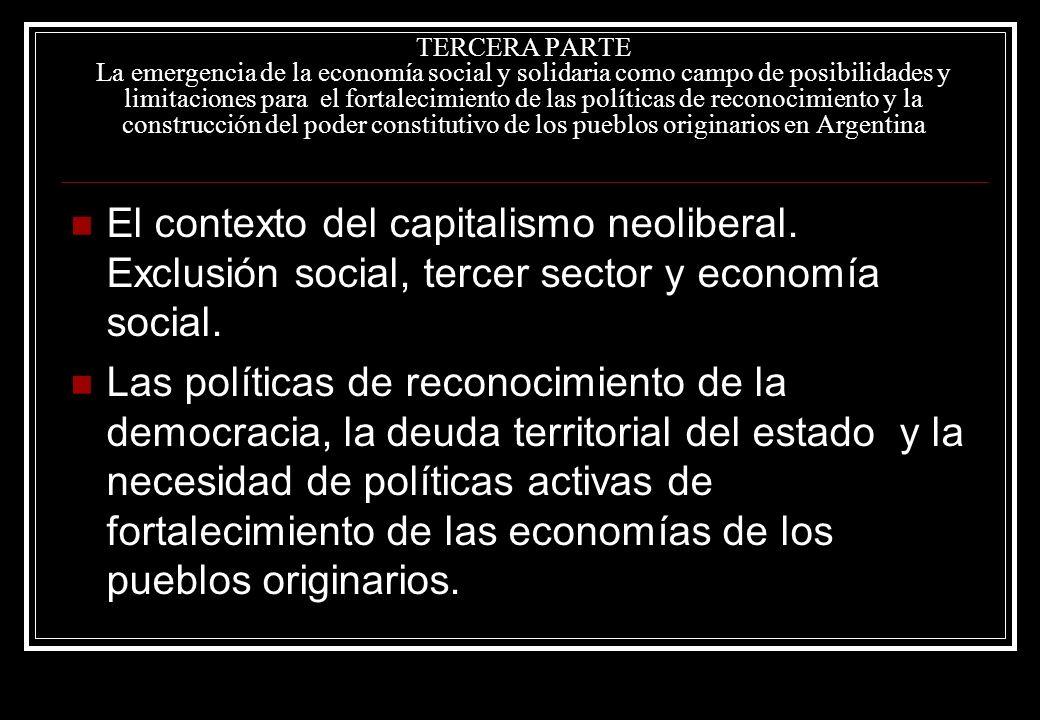 TERCERA PARTE La emergencia de la economía social y solidaria como campo de posibilidades y limitaciones para el fortalecimiento de las políticas de reconocimiento y la construcción del poder constitutivo de los pueblos originarios en Argentina