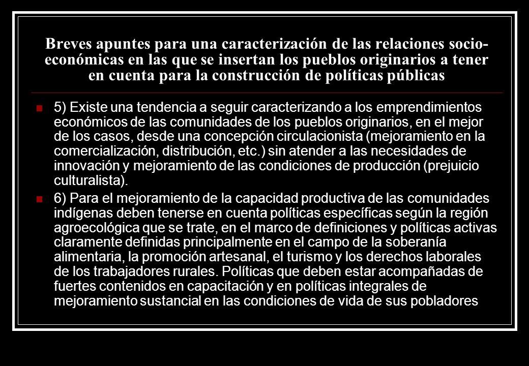 Breves apuntes para una caracterización de las relaciones socio-económicas en las que se insertan los pueblos originarios a tener en cuenta para la construcción de políticas públicas