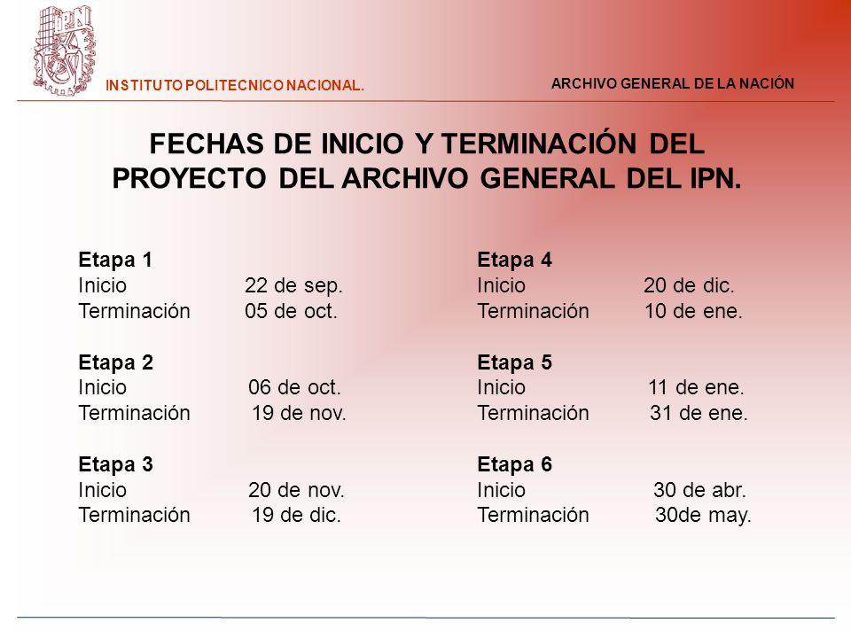 FECHAS DE INICIO Y TERMINACIÓN DEL PROYECTO DEL ARCHIVO GENERAL DEL IPN.