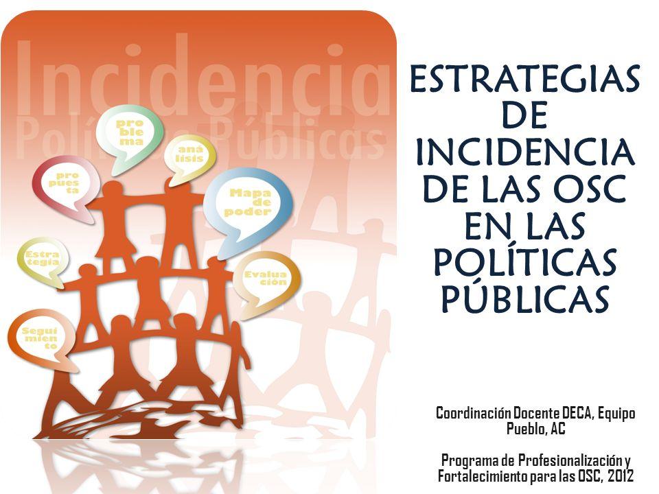 ESTRATEGIAS DE INCIDENCIA DE LAS OSC EN LAS POLÍTICAS PÚBLICAS