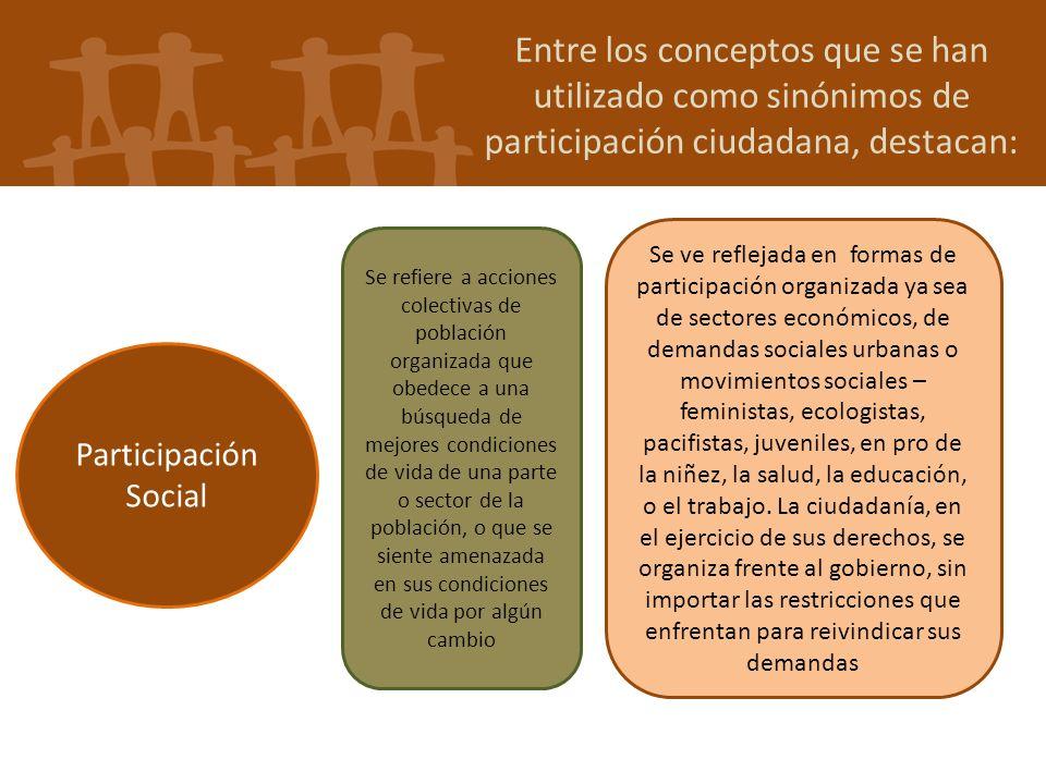 Entre los conceptos que se han utilizado como sinónimos de participación ciudadana, destacan: