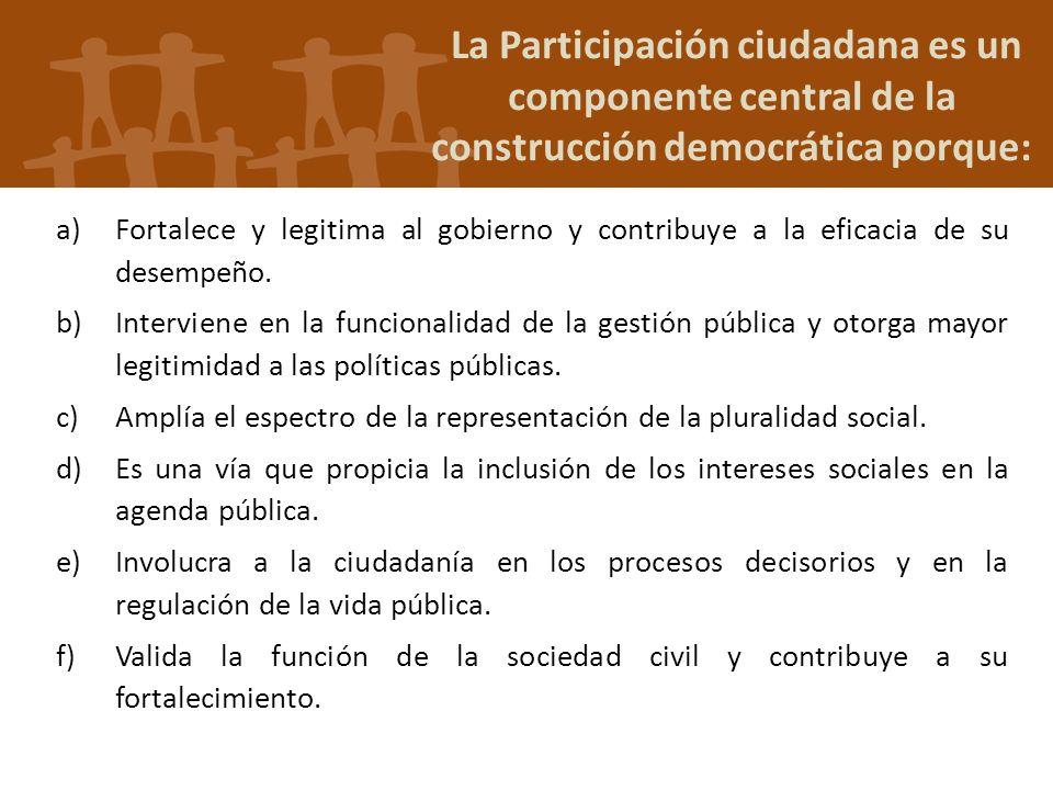 La Participación ciudadana es un componente central de la construcción democrática porque: