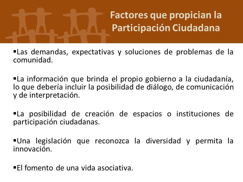 Factores que propician la Participación Ciudadana