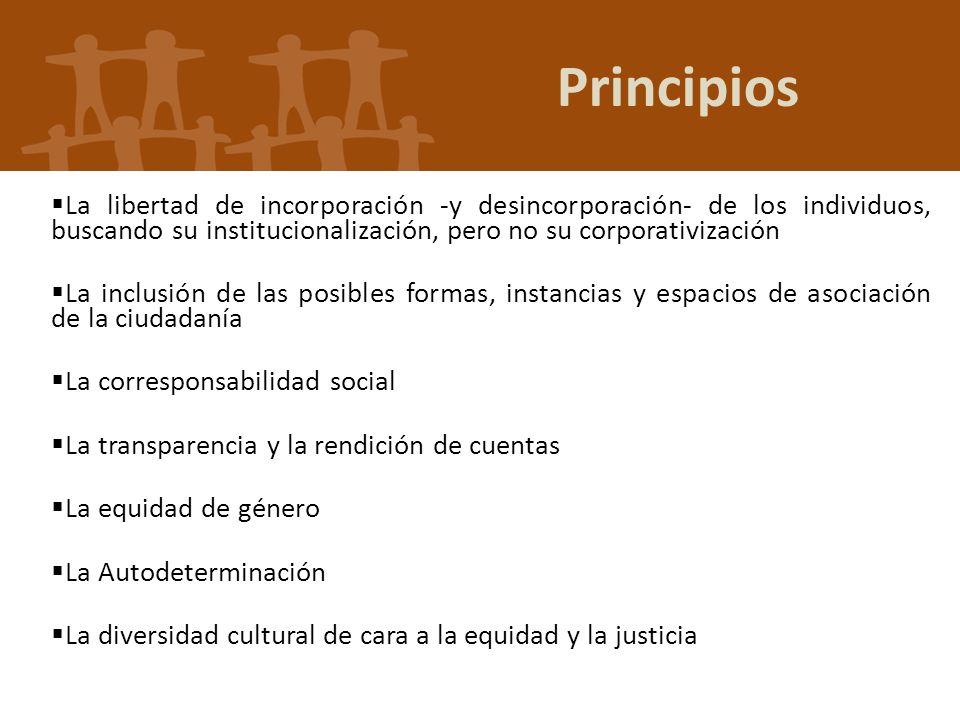 Principios La libertad de incorporación -y desincorporación- de los individuos, buscando su institucionalización, pero no su corporativización.