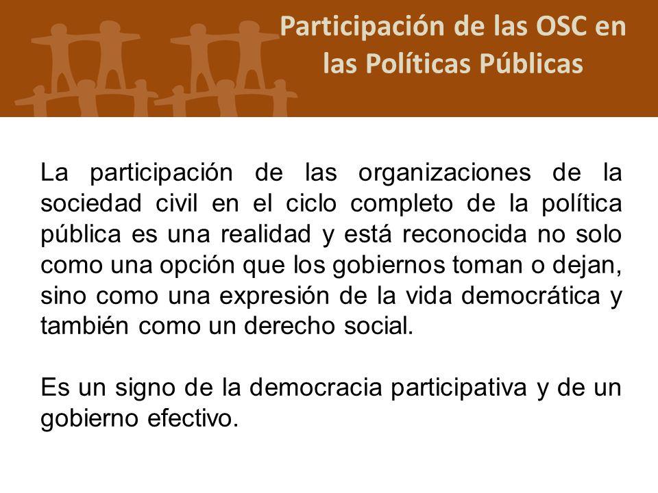 Participación de las OSC en las Políticas Públicas