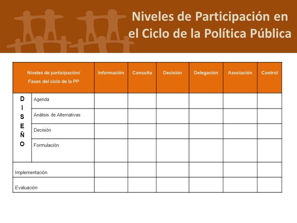 Niveles de Participación en el Ciclo de la Política Pública
