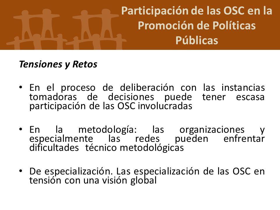 Participación de las OSC en la Promoción de Políticas Públicas