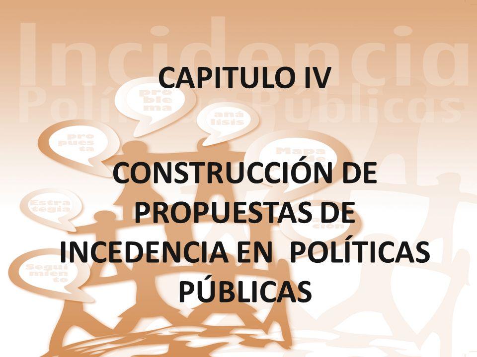 CONSTRUCCIÓN DE PROPUESTAS DE INCEDENCIA EN POLÍTICAS PÚBLICAS
