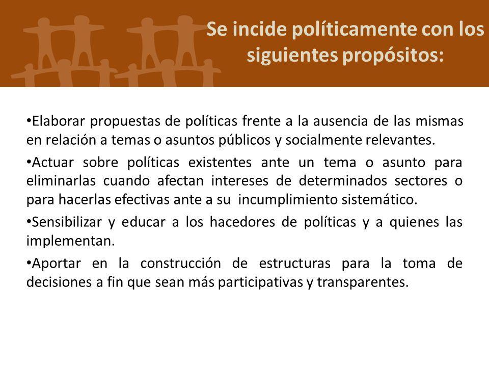 Se incide políticamente con los siguientes propósitos: