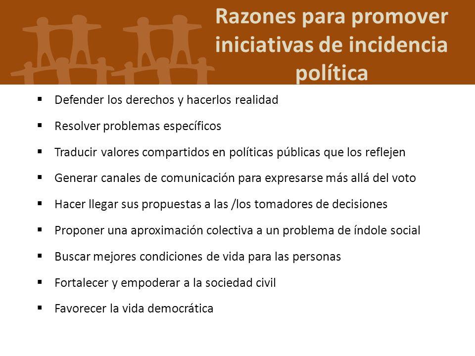Razones para promover iniciativas de incidencia política