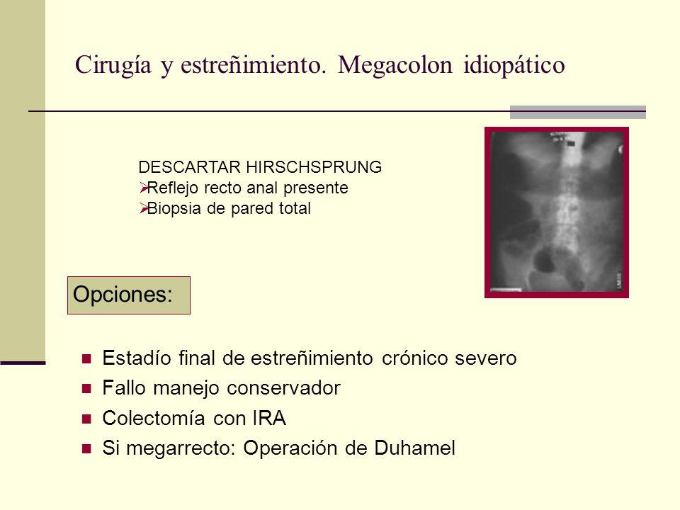 Cirugía y estreñimiento. Megacolon idiopático