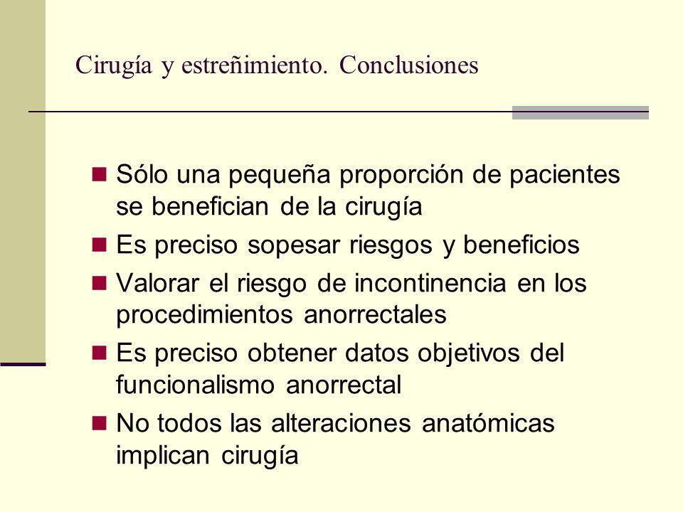 Cirugía y estreñimiento. Conclusiones