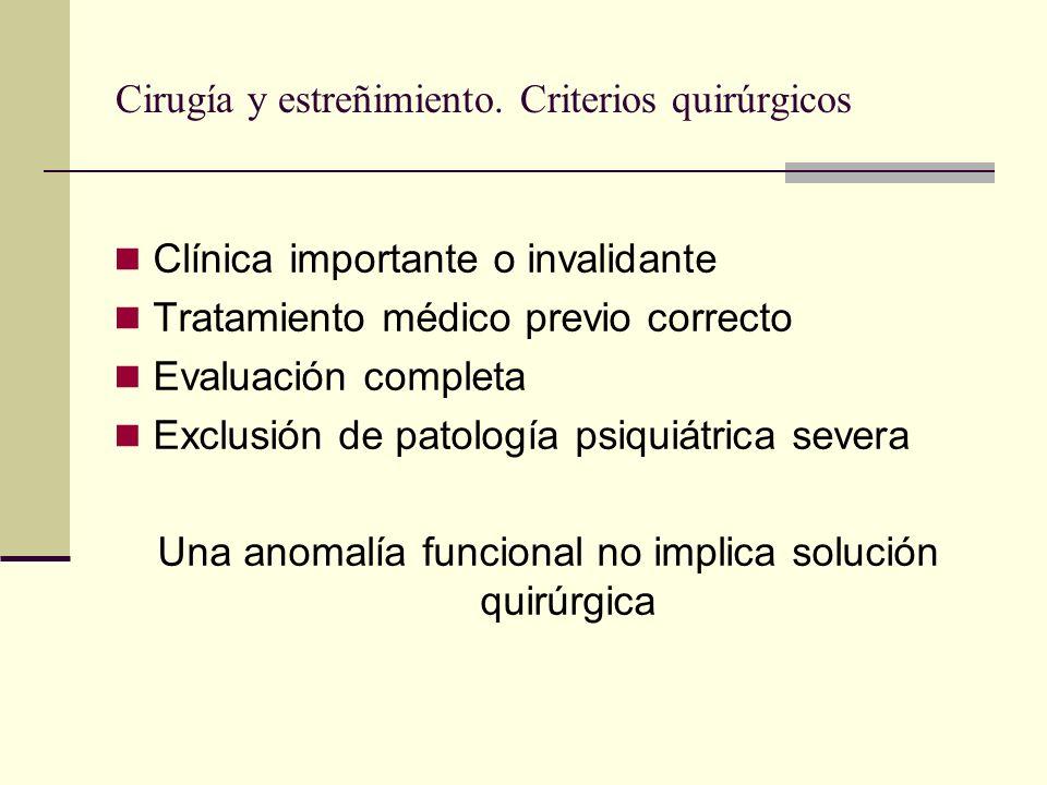 Cirugía y estreñimiento. Criterios quirúrgicos