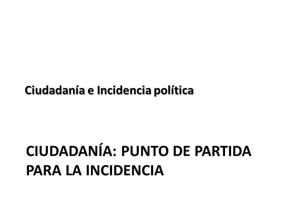 Ciudadanía: PUNTO DE PARTIDA PARA LA INCIDENCIA