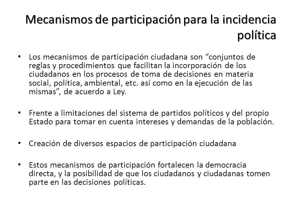 Mecanismos de participación para la incidencia política