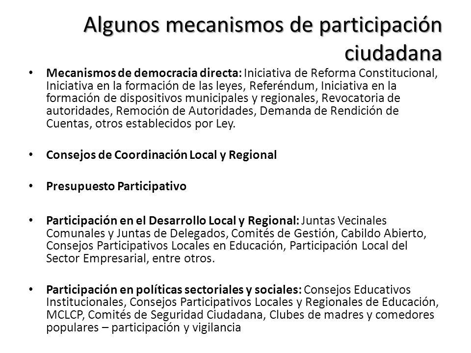 Algunos mecanismos de participación ciudadana