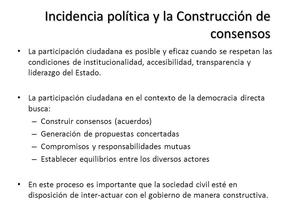 Incidencia política y la Construcción de consensos