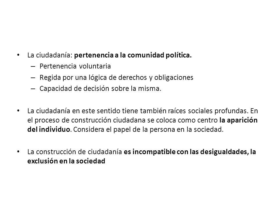La ciudadanía: pertenencia a la comunidad política.