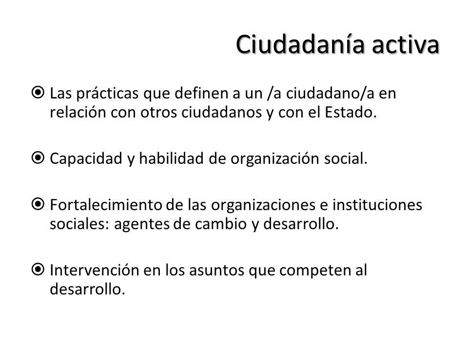 Ciudadanía activa Las prácticas que definen a un /a ciudadano/a en relación con otros ciudadanos y con el Estado.