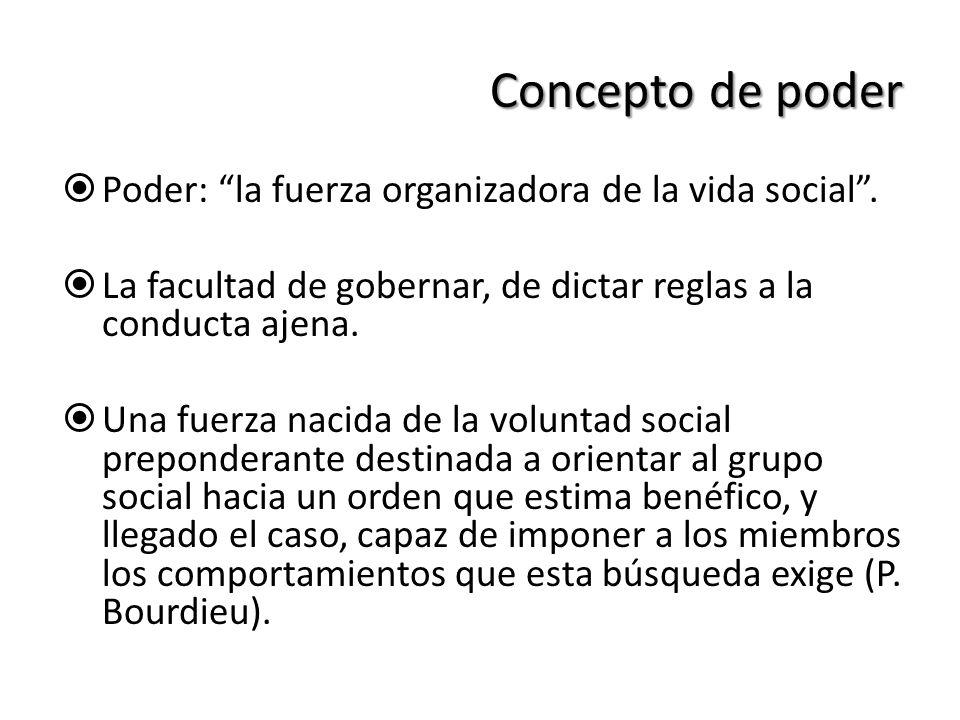 Concepto de poder Poder: la fuerza organizadora de la vida social .