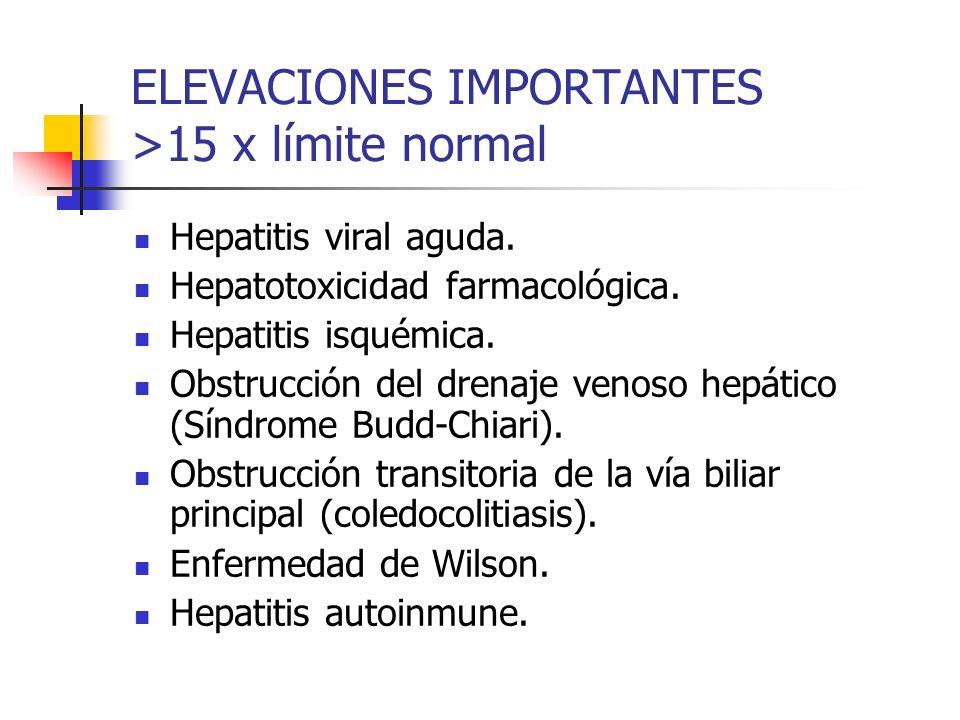 ELEVACIONES IMPORTANTES >15 x límite normal
