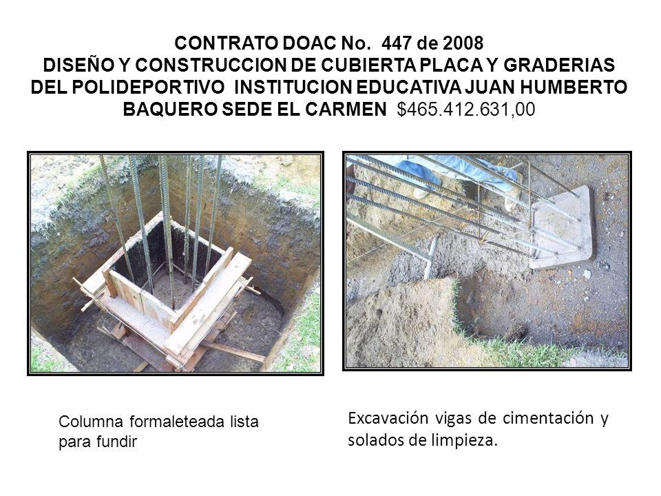 Excavación vigas de cimentación y solados de limpieza.