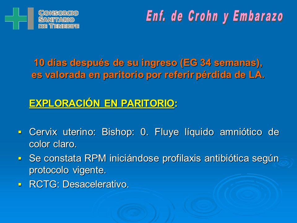 Enf. de Crohn y Embarazo10 días después de su ingreso (EG 34 semanas), es valorada en paritorio por referir pérdida de LA.