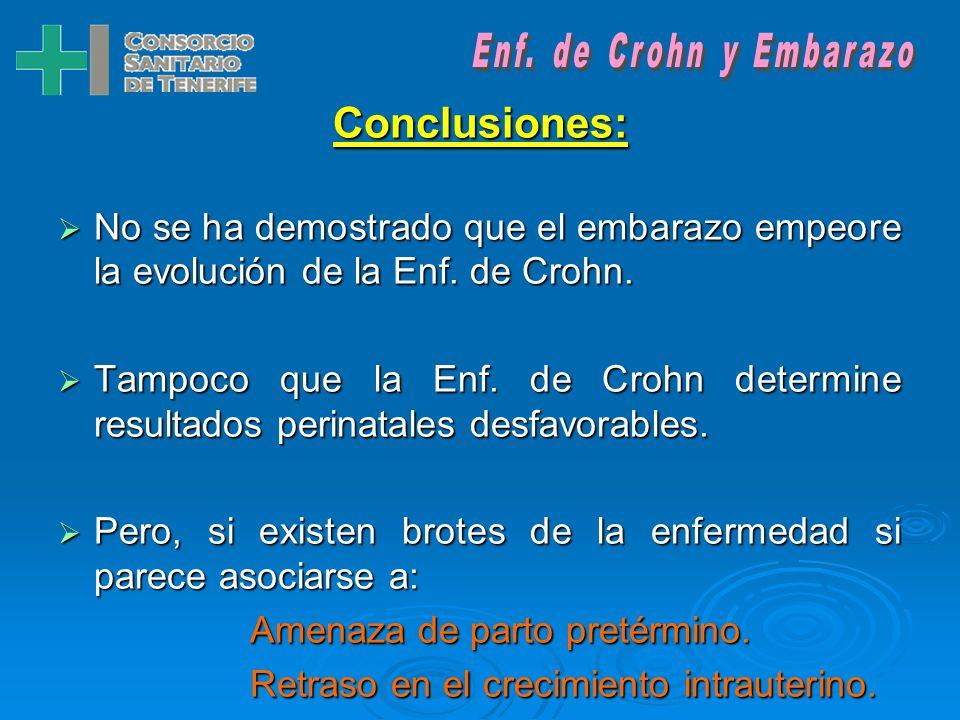 Enf. de Crohn y Embarazo Conclusiones: No se ha demostrado que el embarazo empeore la evolución de la Enf. de Crohn.