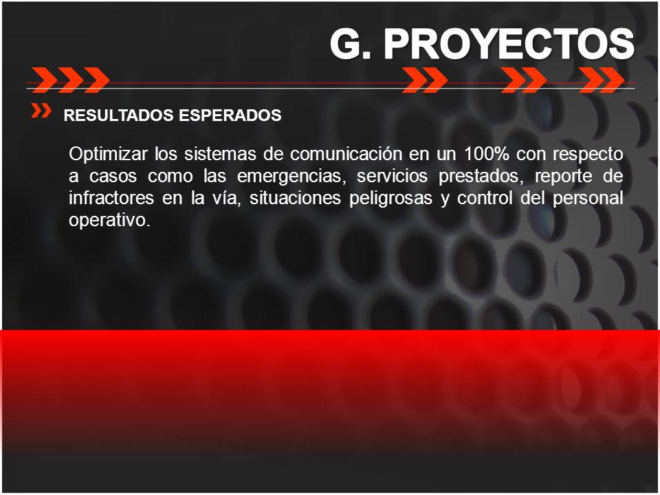 G. PROYECTOS RESULTADOS ESPERADOS.