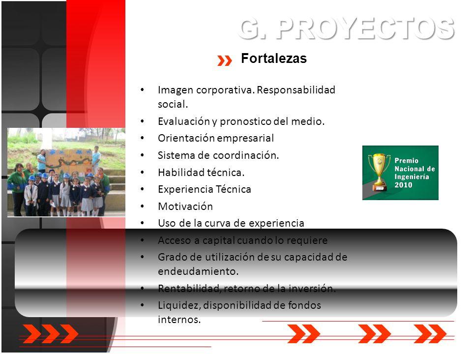 G. PROYECTOS Fortalezas Imagen corporativa. Responsabilidad social.