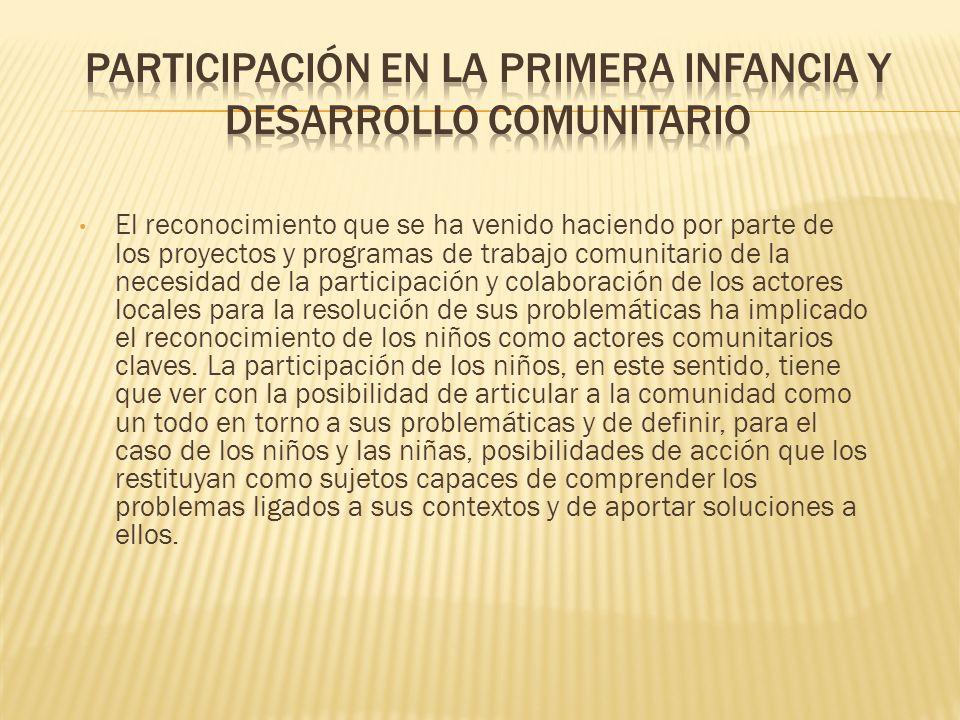 Participación en la primera infancia y desarrollo comunitario