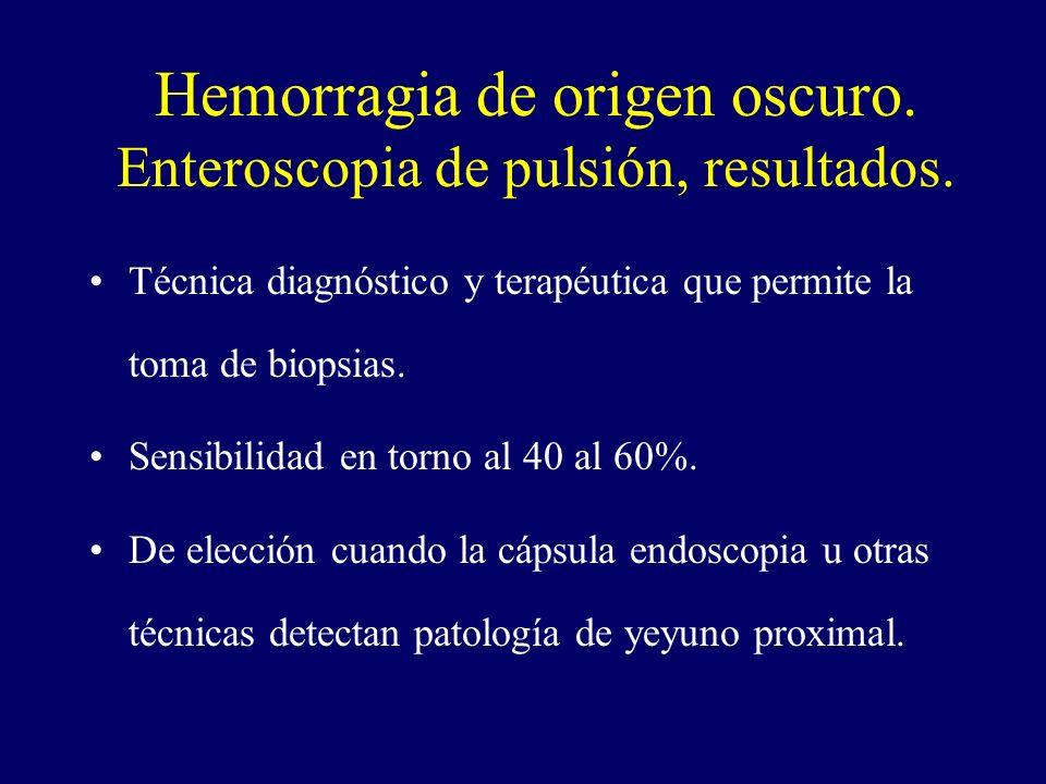 Hemorragia de origen oscuro. Enteroscopia de pulsión, resultados.