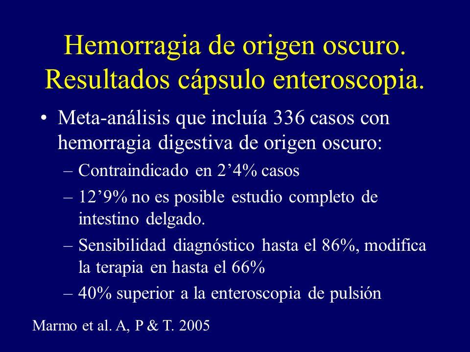 Hemorragia de origen oscuro. Resultados cápsulo enteroscopia.