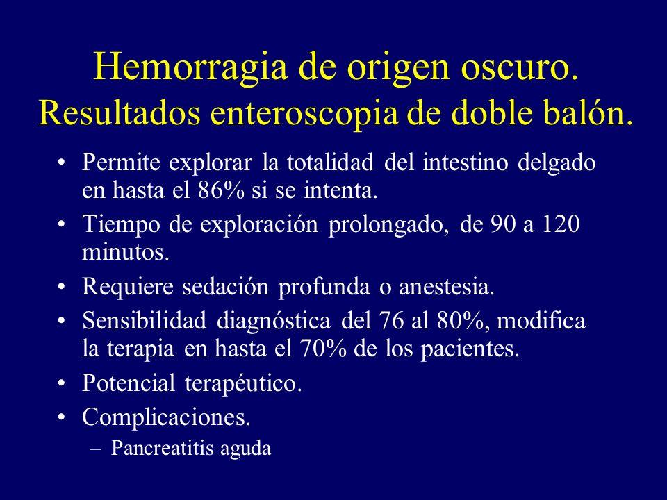 Hemorragia de origen oscuro. Resultados enteroscopia de doble balón.