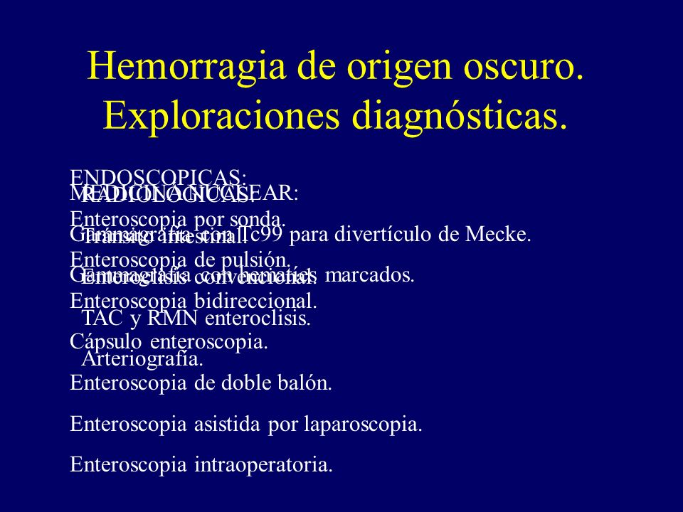 Hemorragia de origen oscuro. Exploraciones diagnósticas.
