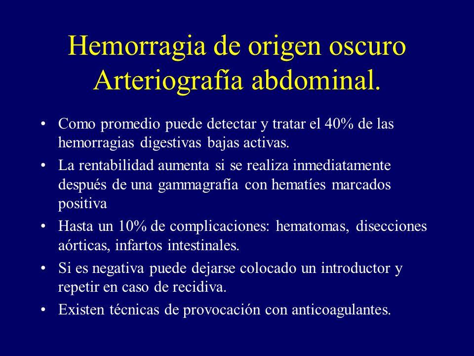 Hemorragia de origen oscuro Arteriografía abdominal.