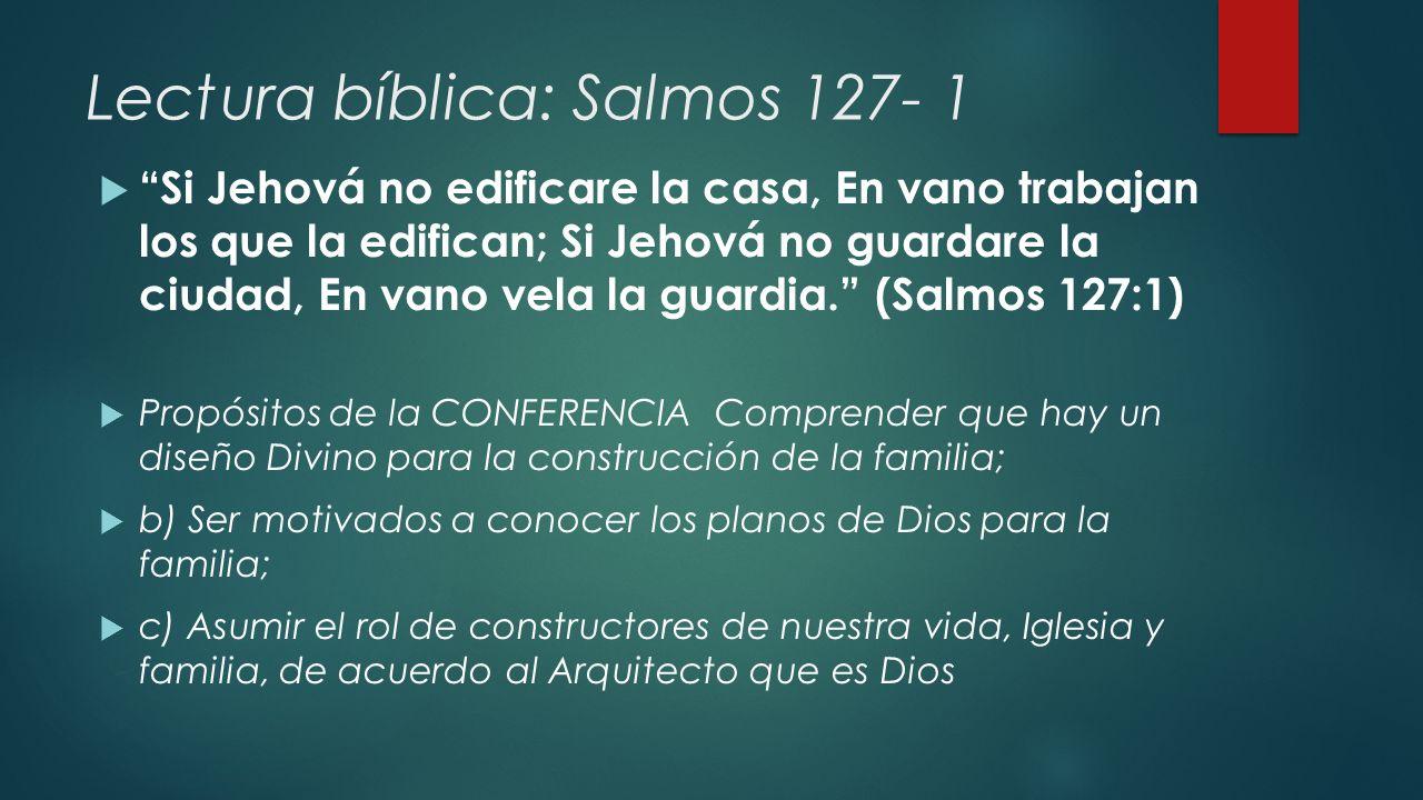 Lectura bíblica: Salmos 127- 1