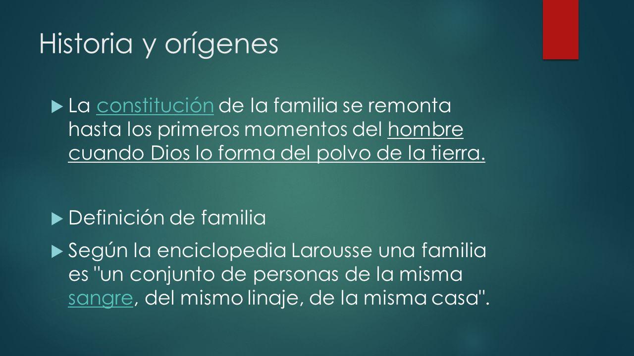 Historia y orígenes La constitución de la familia se remonta hasta los primeros momentos del hombre cuando Dios lo forma del polvo de la tierra.