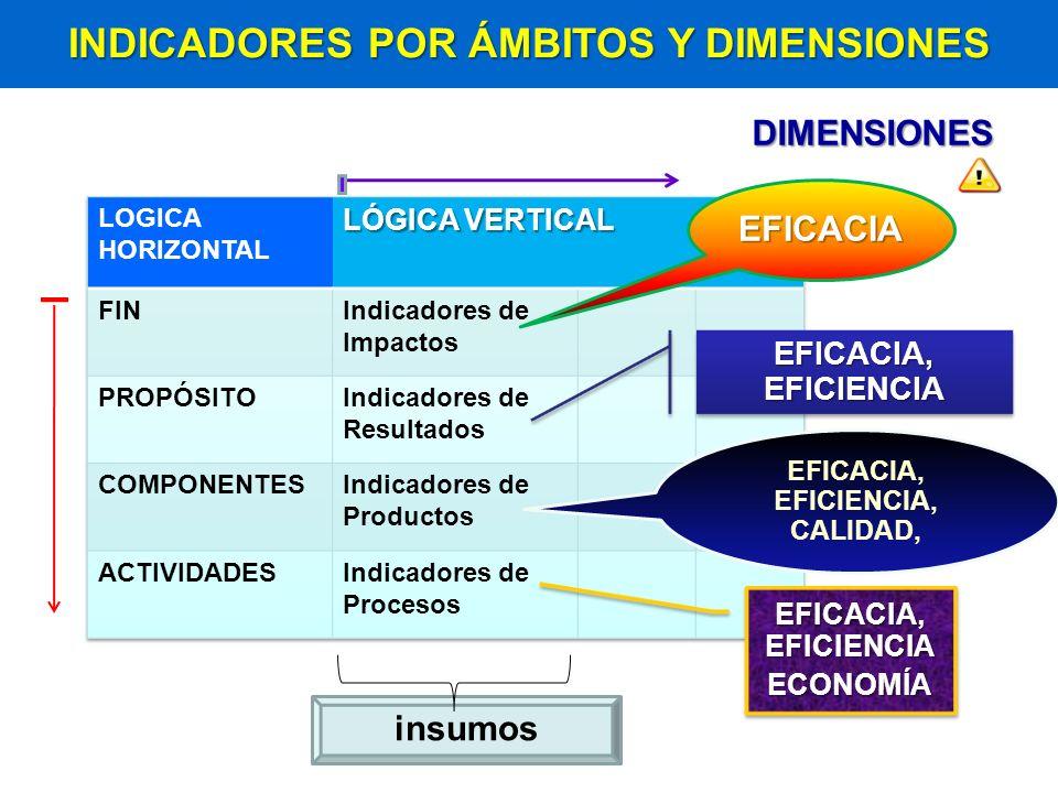 INDICADORES POR ÁMBITOS Y DIMENSIONES EFICACIA, EFICIENCIA, CALIDAD,